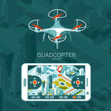 Vector Illustration with quad copter flying over the city and controller on isometric background. Drone delivery. Royalty Free Stock Photography