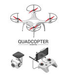 Vector Illustration with quad copter flying over the city and controller on isometric background. Stock Images
