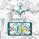 Vector Illustration with quad copter flying over the city and controller on isometric background. Drone delivery. Royalty Free Stock Photos