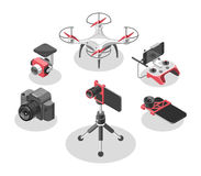 Vector Illustration with quad copter and remote control. Drone, controller, fish eye lens, camera holder, camera. royalty free illustration