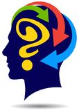 Man head with question mark and arrows royalty free illustration