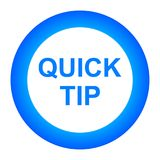 Quick tip blue round button help and suggestion concept. Vector illustration of quick tip blue round button help and suggestion concept on white background Royalty Free Stock Image