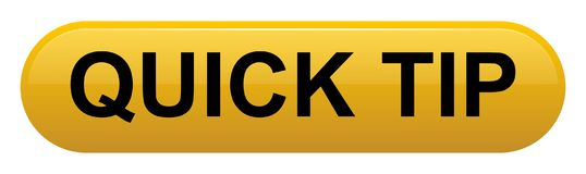 Quick tip golden yellow button help and suggestion concept. Vector illustration of quick tip golden yellow button help and suggestion concept on white background Stock Images