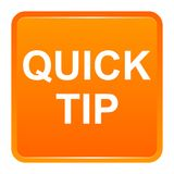 Quick tip orange square button help and suggestion concept. Vector illustration of quick tip orange square button help and suggestion concept on white background Stock Photography