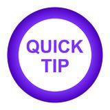 Quick tip purple round button help and suggestion concept. Vector illustration of quick tip purple round button help and suggestion concept on white background Stock Photo