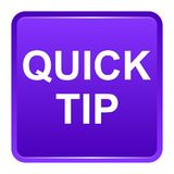 Quick tip purple square button help and suggestion concept. Vector illustration of quick tip purple square button help and suggestion concept on white background Stock Image