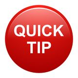 Quick tip red round button help and suggestion concept. Vector illustration of quick tip red round button help and suggestion concept on white background Stock Photos