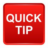 Quick tip red square button help and suggestion concept. Vector illustration of quick tip red square button help and suggestion concept on white background Stock Image