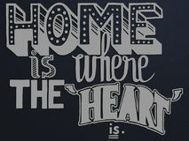 Quote home is where the heart is with different stylistic hand drawn fonts Stock Images
