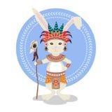 Vector illustration of rabbit or bunny shaman. Royalty Free Stock Photography