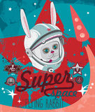 Vector illustration Rabbit in space Stock Photo