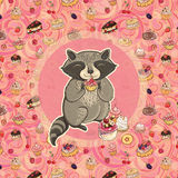 Vector illustration of raccoon with cake Royalty Free Stock Photo