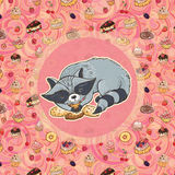 Vector illustration of raccoon with cakes Royalty Free Stock Images
