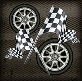 Vector illustration Race - flags and wheels. Car race icons set. Flag and wheels on dark background Royalty Free Stock Photos