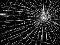 Radial cracks on broken glass. Vector illustration of radial cracks on broken glass (as damage from bullets Stock Images