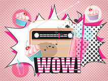 Vector illustration of radio smoothie and cupcake design in pop art comic style. Illustration of vintage radio, glasses of drink with tubule and cupcakes , wow Royalty Free Stock Photos