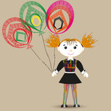 Vector illustration of a rag doll, and three balloon Stock Photos