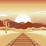 Vector illustration of a railway and in the deserted landscape. Vector illustration of a railway and in the deserted landscape with mountains Royalty Free Stock Images