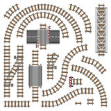 Vector illustration of railway parts - Grey rails Royalty Free Stock Photography