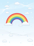 Rainbow on a Blue Sky, with Clouds and Stars. Vector illustration of a rainbow on a blue sky, with clouds, stars and wavy lines stock illustration