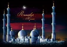 Ramadan Kareem Greetings for Ramadan background with Islamic Mosque Royalty Free Stock Photos