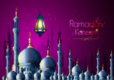 Ramadan Kareem Greetings for Ramadan background with Islamic Mosque Stock Photography