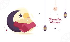 Ramadan Vector Illustration with lantern and crescent moon to forgive people vector illustration