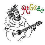 Vector illustration of rastaman playing guitar. Cute rastafarian guy with dreadlocks. Hand-drawn. Isolated on a white background. Royalty Free Stock Photos