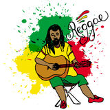Vector illustration of rastaman playing guitar. Rastafarian guy with dreadlocks wearing yellow shirt, green pants, red shoes. Stock Image