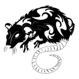 Vector illustration of a rat black and white. Stock Photos