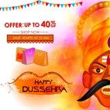 Ravana in Happy Dussehra Festival Offer Stock Image