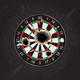 Vector illustration of realistic archery target board got shot, Royalty Free Stock Photos