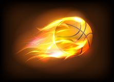 Vector illustration of a realistic basketball ball in a fiery flame. Sport success concept Stock Photo