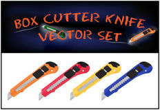 Vector illustration of realistic box cutter knife set  on white background Stock Images