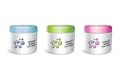 Vector illustration of realistic carbonated bubble mask containers Royalty Free Stock Photo