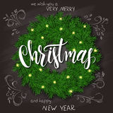 Vector illustration of realistic christmas fir wreath on top view with hand lettering christmas greetings label, hand. Drawn curly leaves and branches on Stock Photography