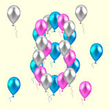 Vector illustration. realistic colored balloons on the eighth bi. Rthday. pink, silver, blue Stock Photo