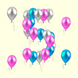Vector illustration. realistic colored balloons on the fifth bir Royalty Free Stock Image