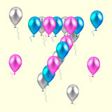 Vector illustration. realistic colored balloons on the seventh b. Irthday. pink, silver, blue Stock Photos