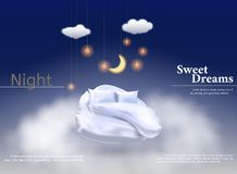 Vector illustration with realistic 3D pastel, blanket, pillow for best sleep, comfortable sleep. Soft pillow. Relaxation, sleep concept. Night, clouds stars stock illustration
