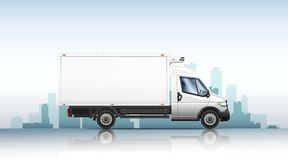Vector illustration of realistic van on a city background. royalty free stock image