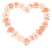 Vector illustration of realistic, detailed heart shape frame of roses in peach color on white background. Royalty Free Stock Images