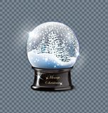 Vector illustration realistic empty christmas snow globe beautiful Christmas trees with snow, isolated on a transparent stock illustration