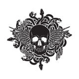 Vector illustration of realistic human skull with wings and bunch of snakes Stock Image