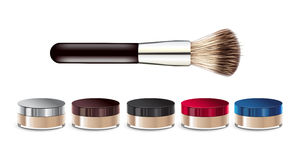 Vector illustration realistic loose mineral powder and brush. Royalty Free Stock Images
