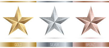 Vector illustration of realistic metallic 3 stars Royalty Free Stock Images