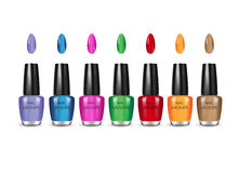 Vector illustration of realistic nail polish in glass bottles on white background. Nail polish in different colors. Vector illustration of realistic nail polish Stock Image