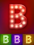 Vector illustration of realistic old lamp alphabet for light board. Vintage vegas show typography. Letter B Stock Photos