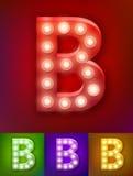 Vector illustration of realistic old lamp alphabet for light board. Vintage vegas show typography. Letter B. Vector illustration of realistic old lamp alphabet vector illustration
