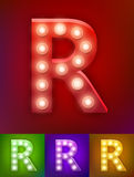 Vector illustration of realistic old lamp alphabet for light board. Vintage vegas show typography. Letter R Stock Photos